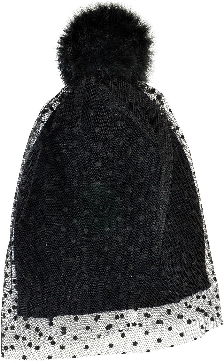 Girls Womens Cute Fun Toque Ski Winter Warm Neon Eaters Knit Beanie Hat with Veil Black