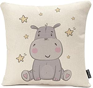 oFloral Throw Pillow Covers Pink Africa Cute Hippo for Children Animal Star Decorative Pillow Case for Home Couch Bedroom Car 18x 18 Inch Cotton Linen Pillowcase