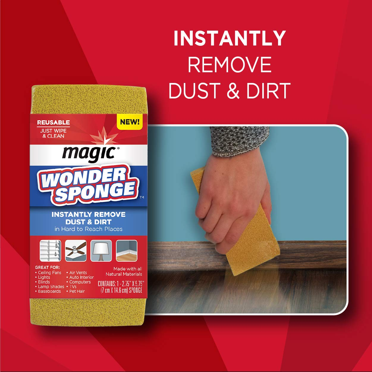Magic Dust Wonder Sponge for Blinds Fans Lampshades Baseboards Pet Hair TVs Computer Electronics Auto Remover