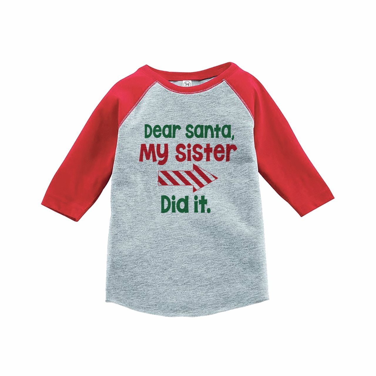 7 ate 9 Apparel Funny Kids Santa Christmas Raglan Tee Red