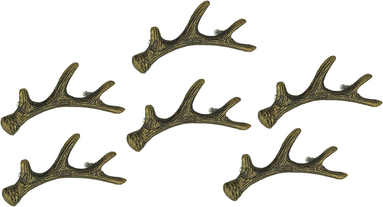 Zeckos Antique Bronze Finish Cast Iron Deer Antler Drawer Pull Cabinet Handle Set of 6