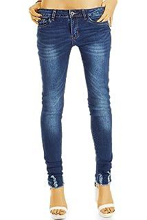 bestyledberlin Damen Boot Cut Jeans, Ausgefranste Hüftjeans