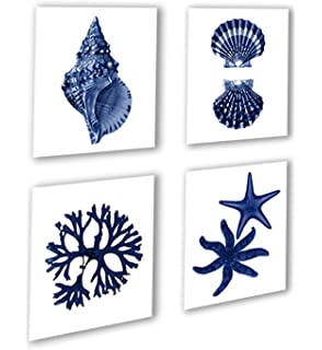 Navy Blue Beach Wall Art Decor Set Of 4 Unframed Prints Coastal Home Decor