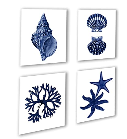 e74e0d0f7ed Image Unavailable. Image not available for. Color  Navy Blue Beach Wall Art  Decor Set ...