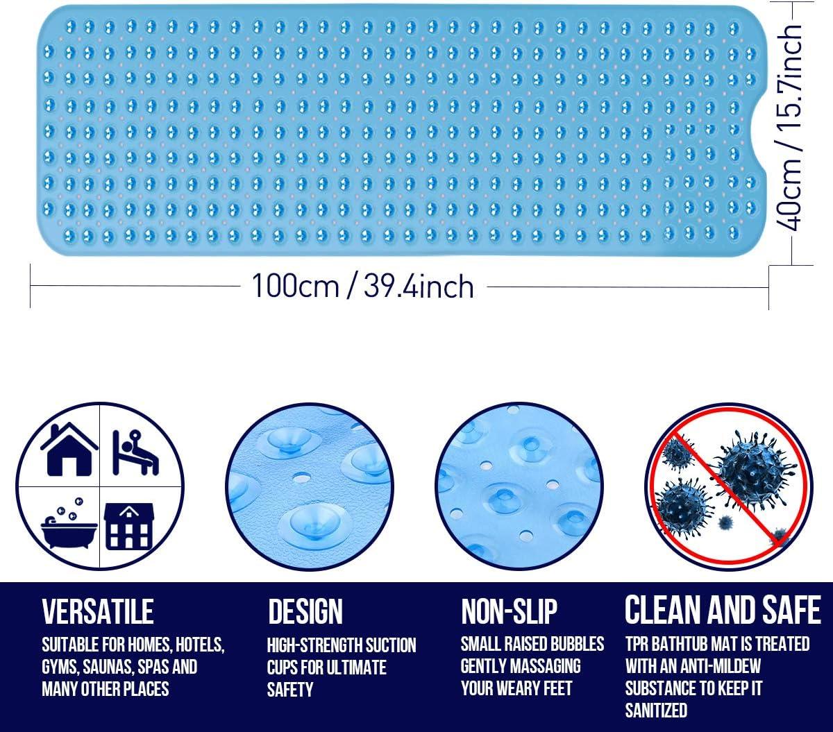 Tapis de Baignoire de Securite Antidérapant Anti moisissures 100 x 40 cm Bleu