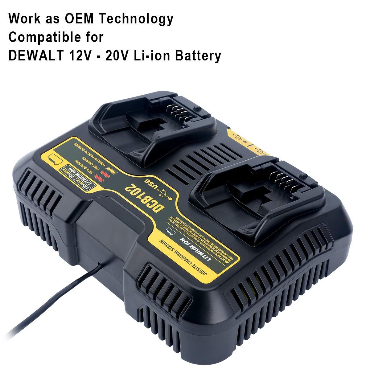 Elefly DCB102BP 2-Port Replacement Battery Charger for DEWALT 12V - 20V MAX Jobsite Charging Station DCB102 DCB102BP Dewalt Lithium Battery DCB205-2 ...