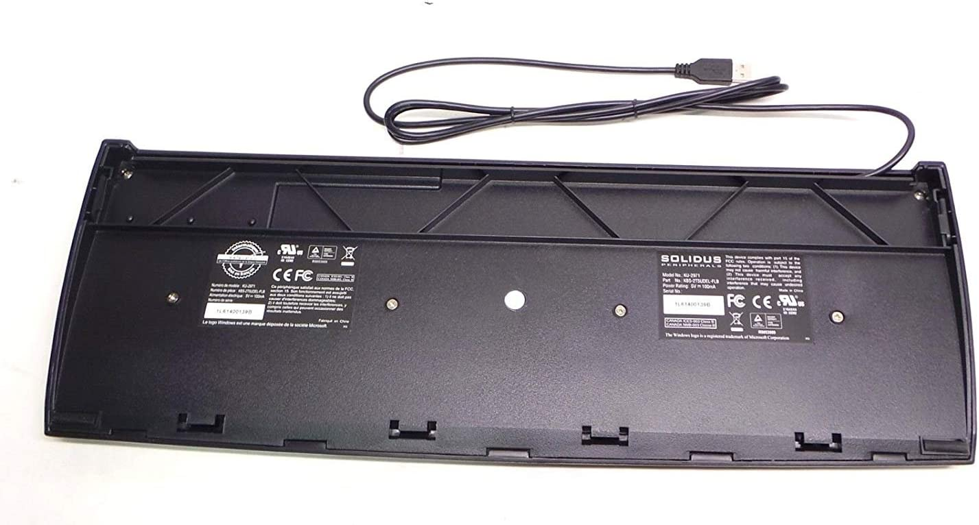 Certified Refurbished 3 Pack Solidus Standard 200 Series KBS225T5-USB-BL Wired USB Keyboard