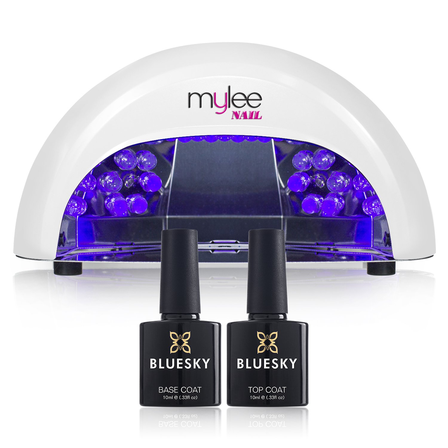 Mylee White LED 5-Finger 12 Watt Dome Lamp Includes Bluesky Gel Polish Gel Nail Polish Top and Base Coat, Free. For Gel Nail Perfection Every Time