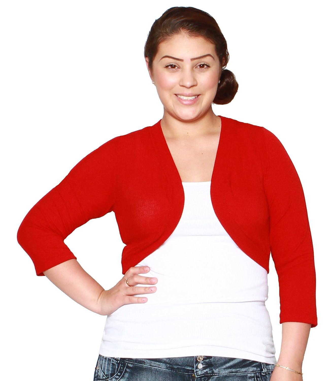 Libian Women's Jr Plus Size 3/4 Sleeve Cropped Bolero Shrug at ...