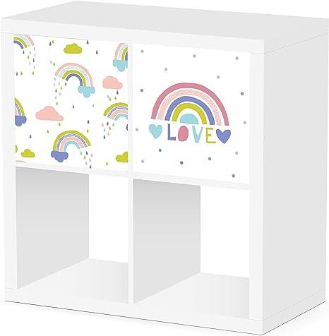 Debe Kallax - Juego de cajas de almacenamiento para habitación infantil, diseño por ambos lados, 33 x 33 x 38 cm, plegable, caja para juguetes, 2 ...
