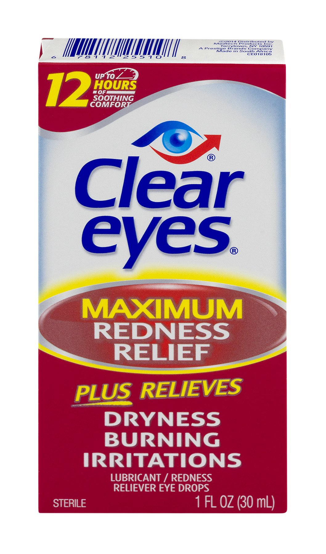 Clear Eyes Maximum Redness Relief Eye Drops | Relieves Drying, Burning & Irritations | 1 Ounce per Box | 3 Boxes Total