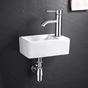 KES Bathroom Corner Sink with P Trap Pop Up Drain and Faucet Chrome Combo 12 Inch Wall Mounted Small Vanity Porcelain Ceramic White Vessel Sink, BWS100R-C1