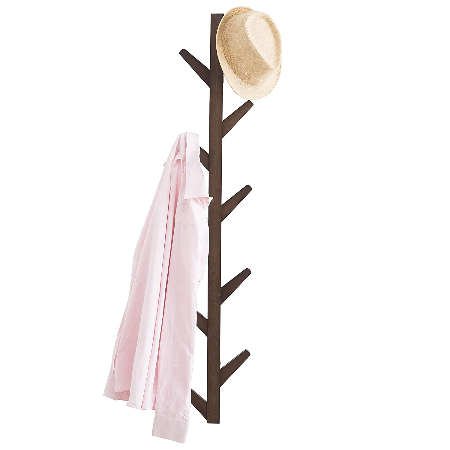 MyGift Tree Branch Design 10 Hook Bamboo Wood Wall-Mounted Coat Hat Rack, Brown