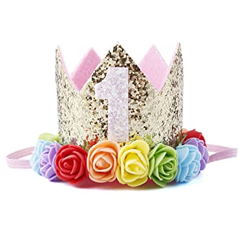 Amazon.com   Baby Princess Tiara Crown Baby Girls First Birthday Hat  Sparkle Rose Flower Crown Birthday Headband Hair Accessories for Baby  Shower 1st 2nd ... 275ef8002c4