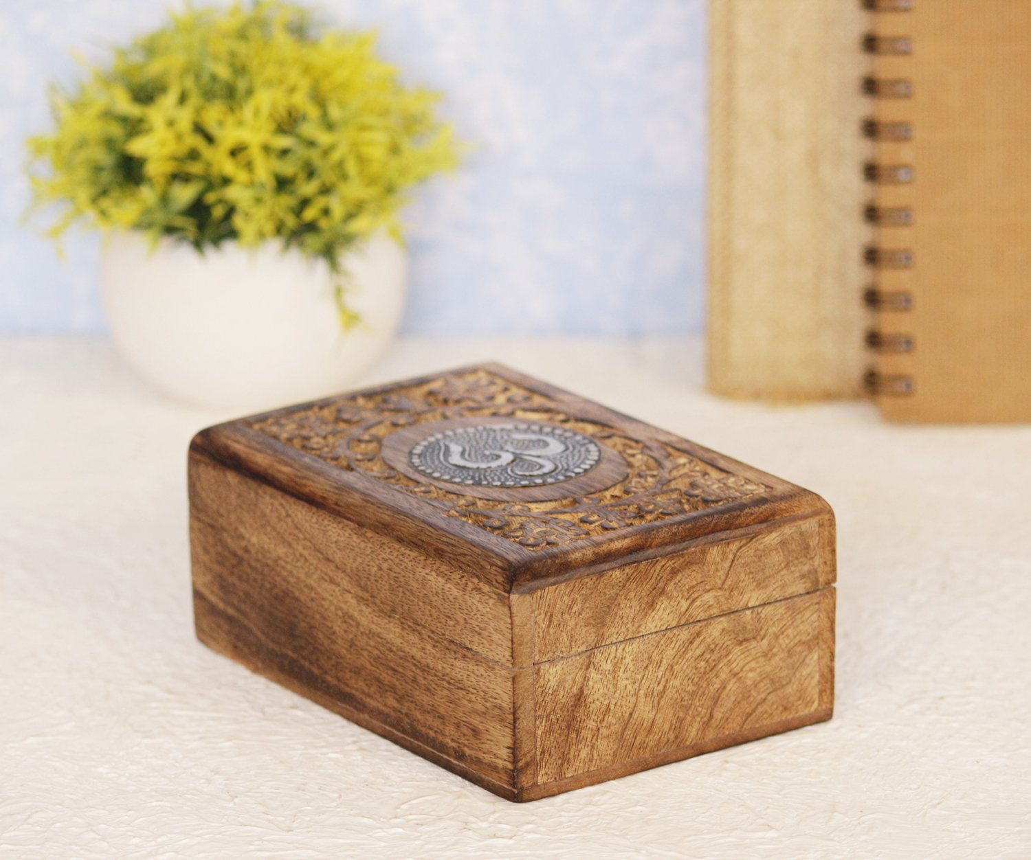 Handmade Wooden OM Design Jewelry Storage Box