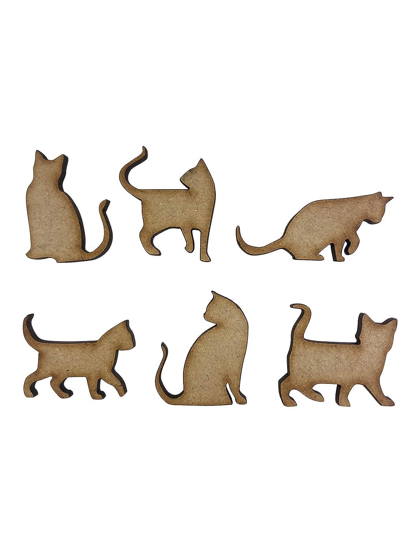 20 adornos de madera con forma de gato de 3 cm, corte láser, MDF: Amazon.es: Hogar