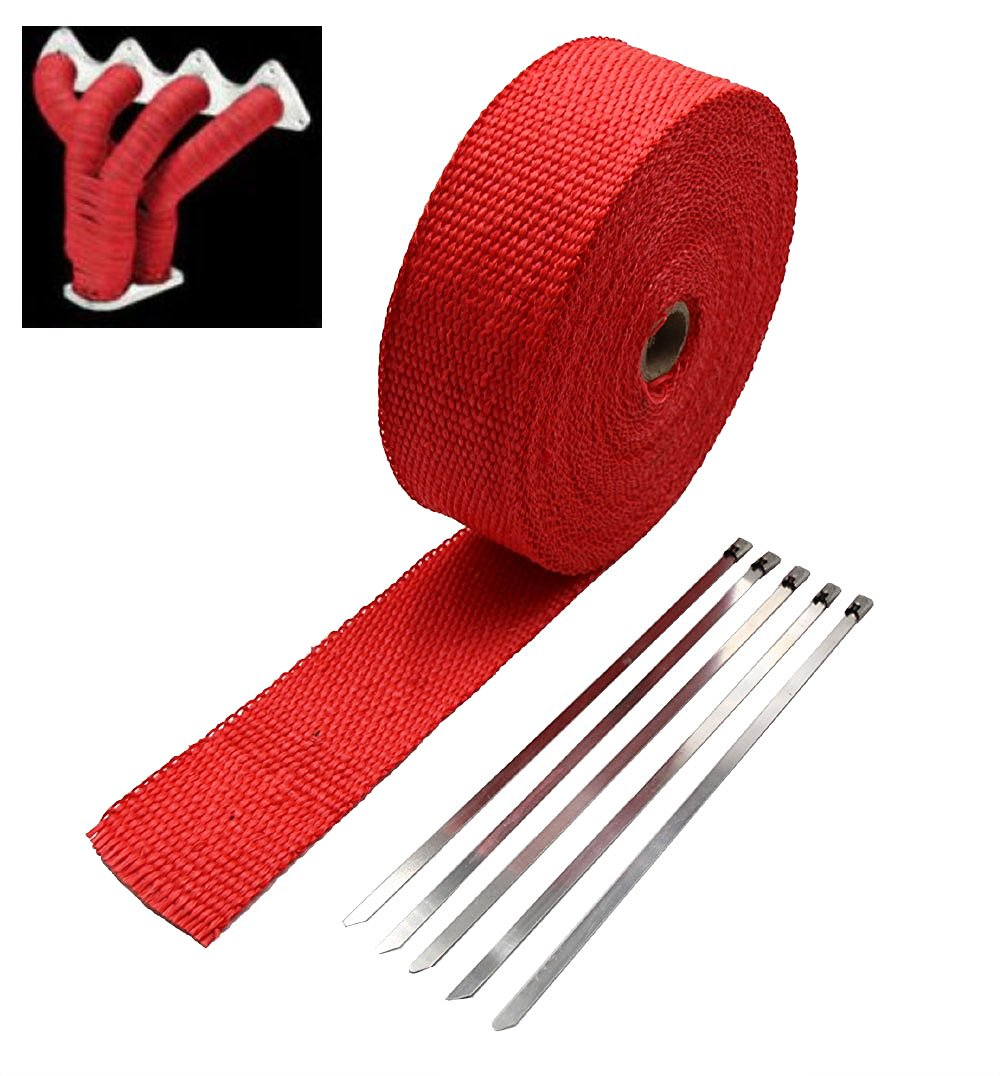 SUNDELY Red Color Glassfiber Exhaust Pipe Header Heat Wrap Resistant Downpipe Tape Roll 2in X 49ft (5cm X 15m) + 5 Metal Ties