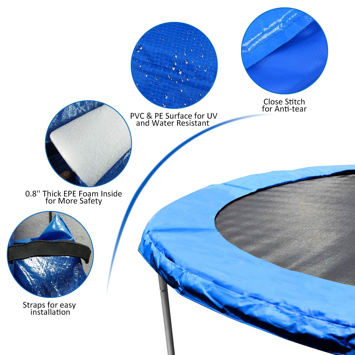 Giantex Trampoline Pad, Exercise Fitness Gymnastics Trampoline,Trampoline Pad Replacement Bounce Frame, Edge Cover Springs Protection Pad, Rebounder Trampoline (Blue, 14 ft) by Giantex (Image #4)