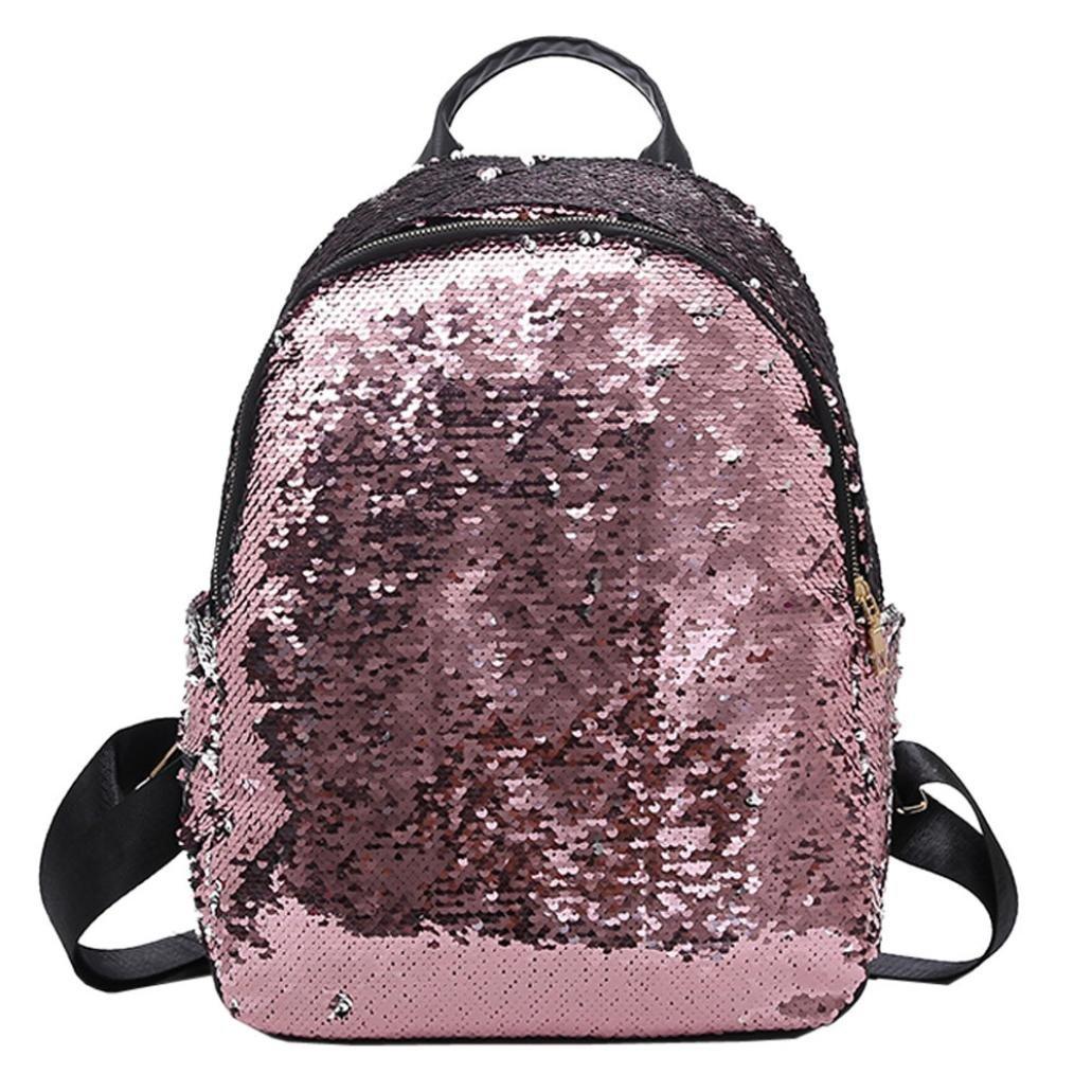 School Bag Backpack Satchel, Rakkiss Student Travel Shoulder Bag Girl Sequins Elegant Casual Daypacks Sports Bags
