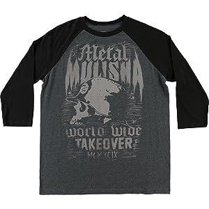 Metal Mulisha Mens Grain Raglan Long-Sleeve Shirt X-Large Heather Blue With Black