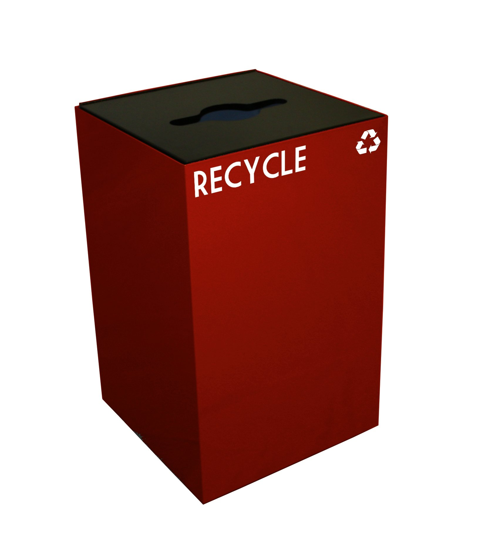 Witt Industries 24GC04-SC GeoCube Recycling Receptacle with Combination Slot/Round Opening, Steel, 24 gal, Scarlet