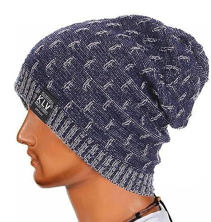 LuckES Hombres Mujeres universal Cálido Invierno de punto de esquí Beanie  Hat cráneo Slouchy Gorra Sombrero 770ff25d7e01