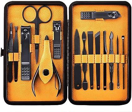 15pcs cortauñas, juego de herramientas de manicura pedicura, juego de uñas profesional - kit de aseo de uñas de acero inoxidable con estuche portátil (negro/amarillo): Amazon.es: Belleza