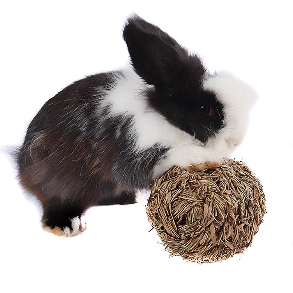 Emours Hamster souris gerbille Lapin tissé Boule d'herbe jouer jouet à mâcher avec cloche à l'intérieur Pet accessories