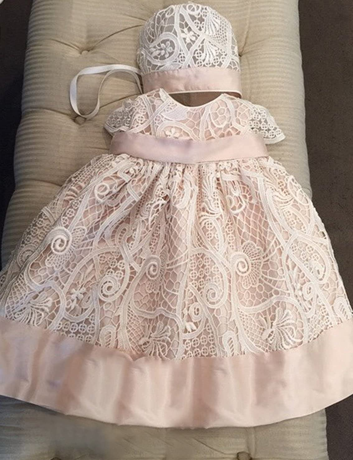 Aorme Champagne Pink Lace Christening Gowns for Girls Baptism Dress 0-24 Months