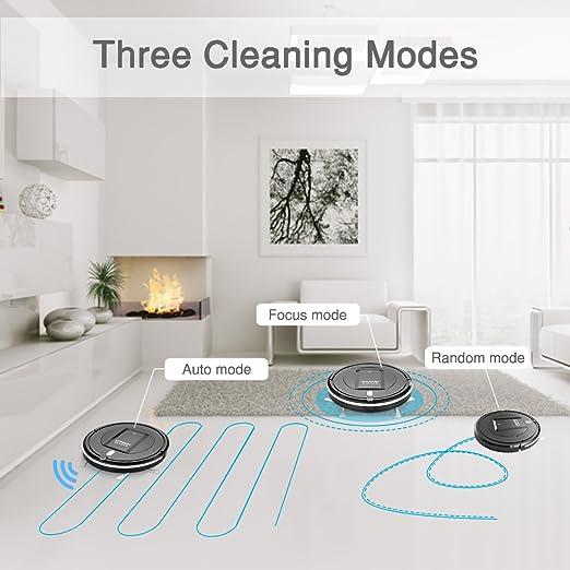 eyugle Robot aspirador kk290 a 500 PA succión potente Sensor inteligente Anti-Collision Anticaída tres modos de limpieza negro: Amazon.es: Hogar