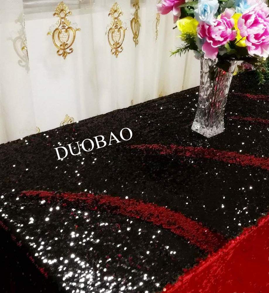 DUOBAO Sequin Tablecloth 60x84-Inch Black Mermaid Sequin Fabric Red to Black Glitter Tablecloth Reversible tablecloths for Rectangle Tables~0516 by DUOBAO (Image #2)