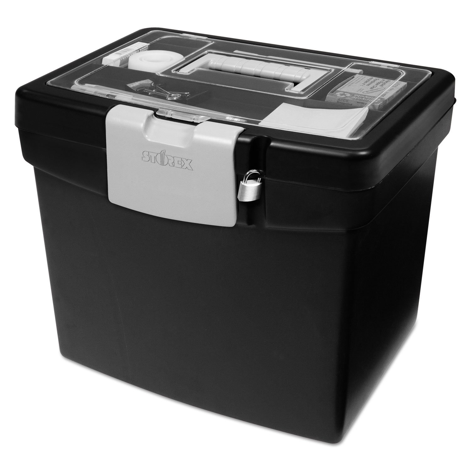 Storex 61504U01C Portable File Box with Large Organizer Lid, 13 1/4 x 10 7/8 x 11, Black