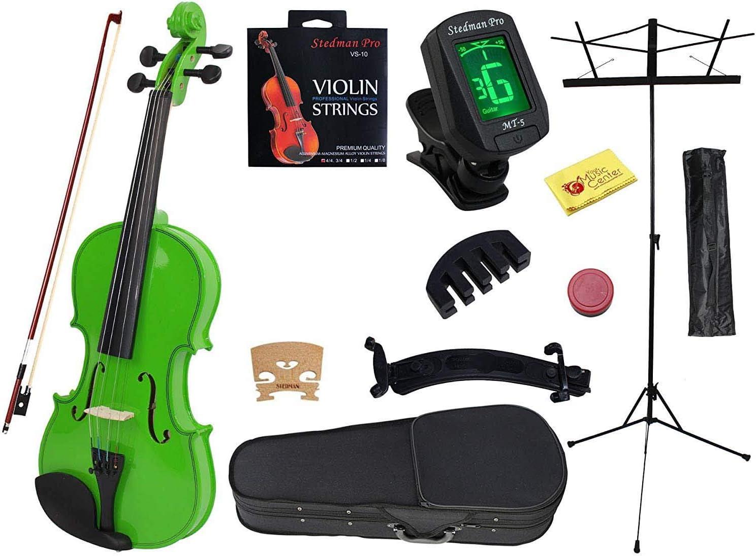 ymc 4/4 Tamaño Completo Handcrafted de Madera Maciza para estudiante de violín colimador Soporte de kits (con estuche duro, arco, Música, afinador electrónico, arco, hombro, Silencio, cuerdas extra, polaco Gamuza, colofonia): Amazon.es:
