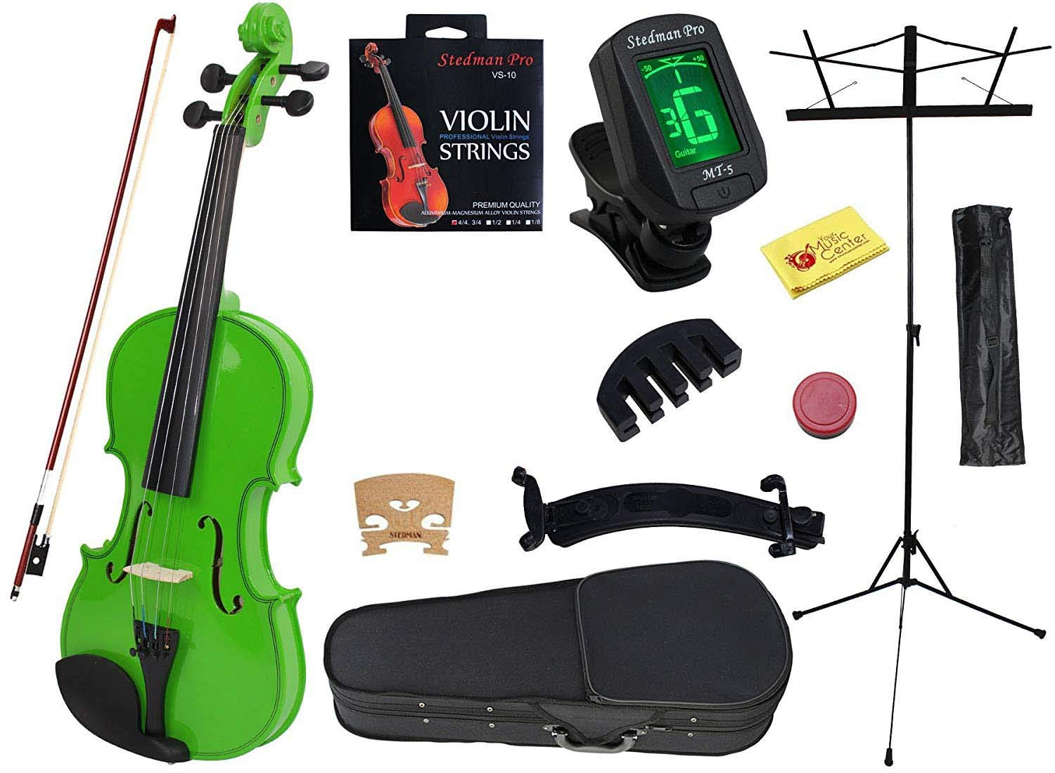 YMC 4/4 Full Size Handcrafted Solid Wood Student Violin Starter Kits (w/ Hard Case, Bow, Music Stand, Electronic Tuner, Bow Collimator, Shoulder Rest, Mute, Extra Strings, Polish Cloth, Rosin), Green