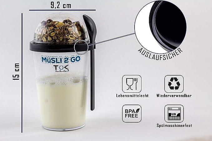 TOK Müslibecher 2 go/Joghurt to go Becher mit Löffel - komplett dicht, BPA frei, wiederverwendbar - Reise-Müsli-Becher für de