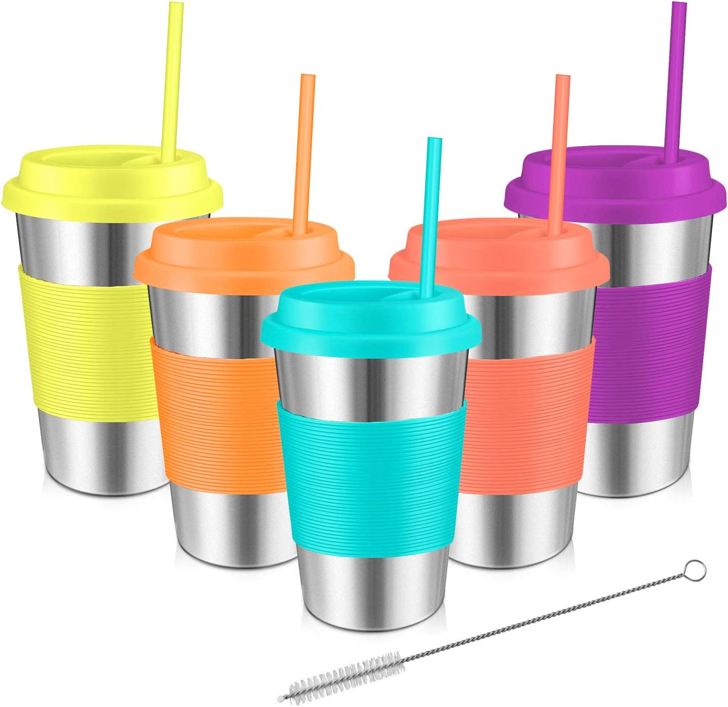Stainless Steel Cups, Kereda Sippy Cup For Kids/Adults 16oz With Silicone Sleeves, Lids And Straws, Bpa Free Premium Metal Drinking Glasses (Pack Of 5)