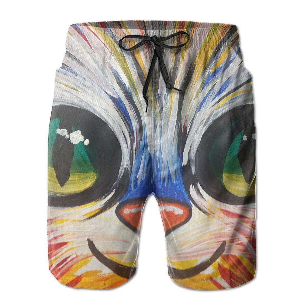 colorful Kitty Mens Beach Shorts Elastic Waist Pockets Lightweight Swimming Board Short Quick Dry Short Trunks