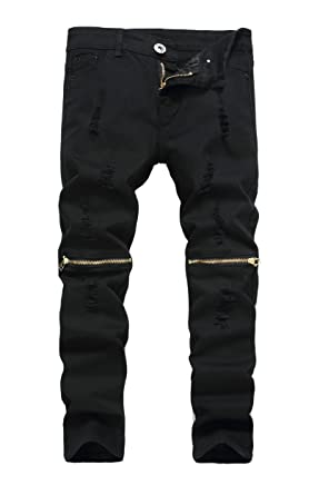 fd3baaef Boy's Black Slim Fit Skinny Jeans Ripped Elastic Waist Pants with Zipper  for Kids ,Black