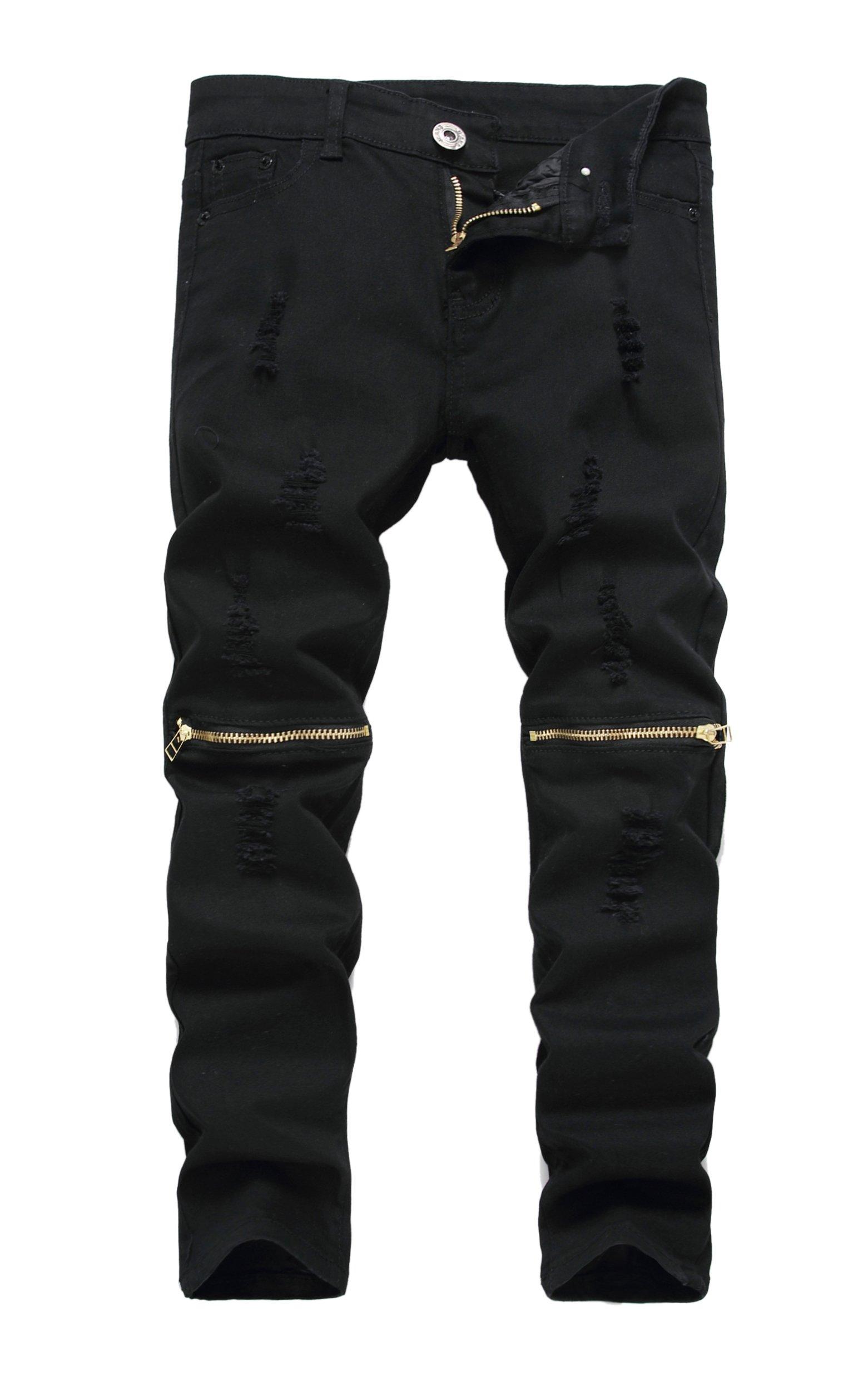 Boy's Black Slim Fit Skinny Jeans Ripped Elastic Waist Pants with Zipper for Kids,Black,16 Slim