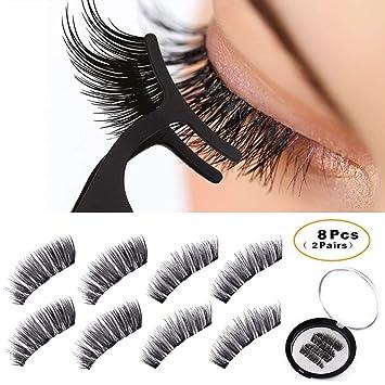 6979ed57916 Amazon.com : BONNIE CHOICE 8 Pcs One Two Lash Magnetic False Eyelashes 3  Magnets Eye Lashes with Applicator (2 Pairs + Applicator) : Beauty