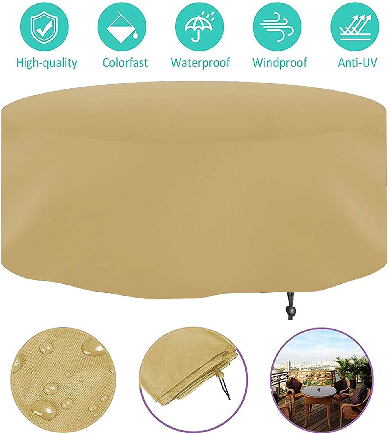 round Patio Table Cover Heavy Duty Oxford Fabric Rattan Furniture Cover,Waterproof Windproof /& Anti-UV Outdoor Garden Cover QAZWSX Garden Furniture Covers
