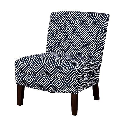 Amazing Amazon Com Modhaus Living Contemporary Navy Blue And White Creativecarmelina Interior Chair Design Creativecarmelinacom