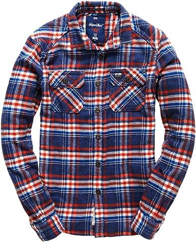 Superdry Hombre Camisa De Franela Milled Marina Azul Marino XXX-Large: Amazon.es: Ropa y accesorios