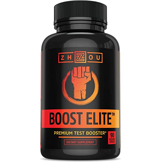 BOOST ELITE Testosterone Booster to Increase Testosterone, Libido & Energy, 9 Powerful Ingredients Including Tribulus Terrestris, Fenugreek, Yohimbe, Maca, Horny Goat Weed & Tongkat Ali, 90 Caps