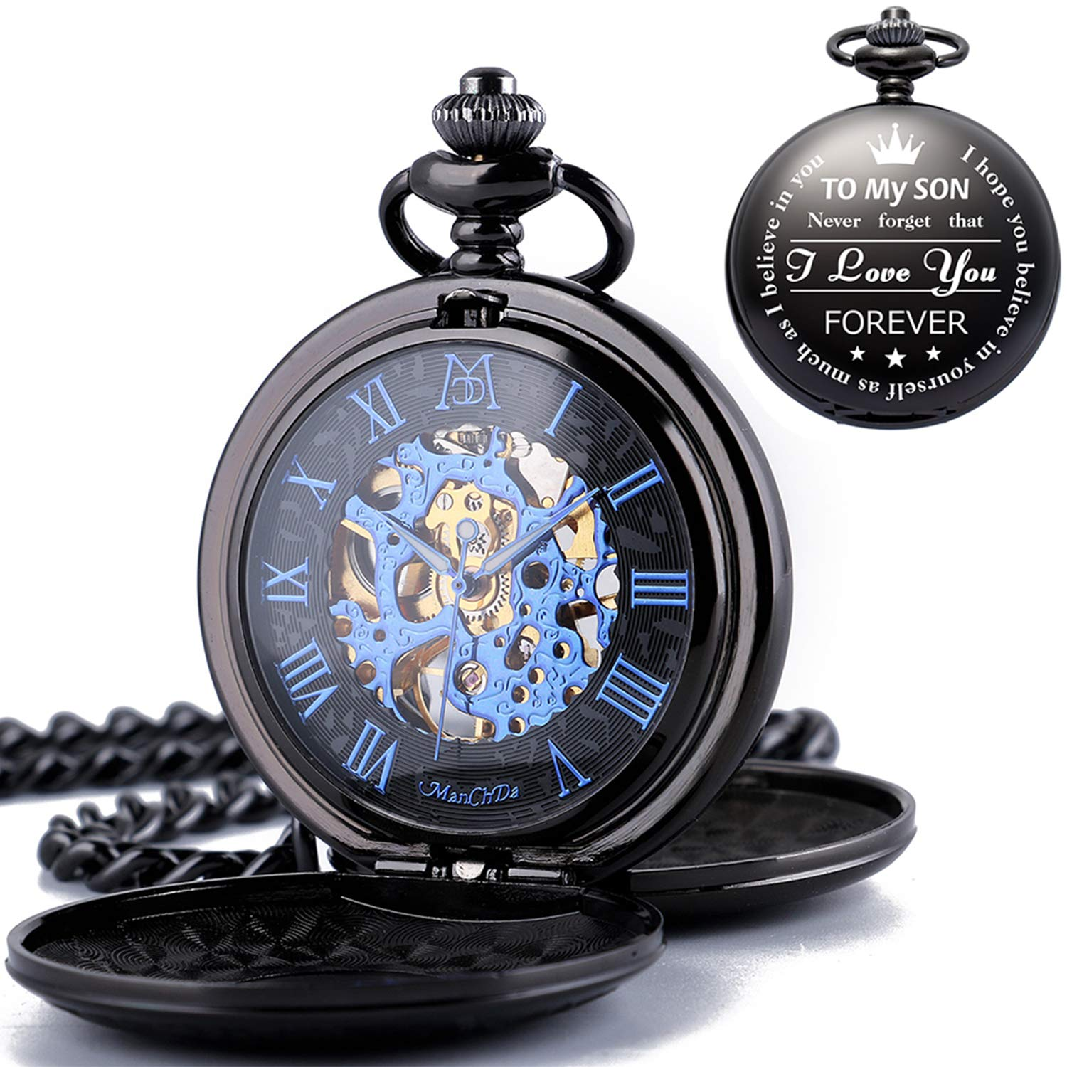 ManChDa Mechanical to My Son Double Cover Roman Numerals Dial Skeleton Personalized Engraved Pocket Watches with Gift Box and Chain Customized Customization Custom Engraving Gift for Son by ManChDa