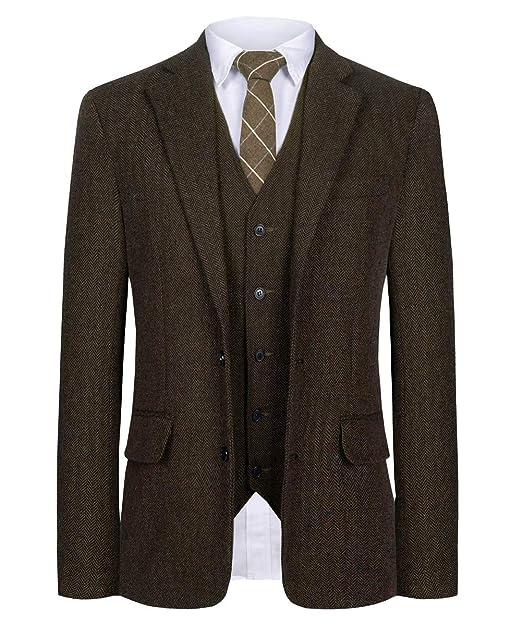 Amazon.com: CMDC - Traje para hombre de mezcla de lana de ...