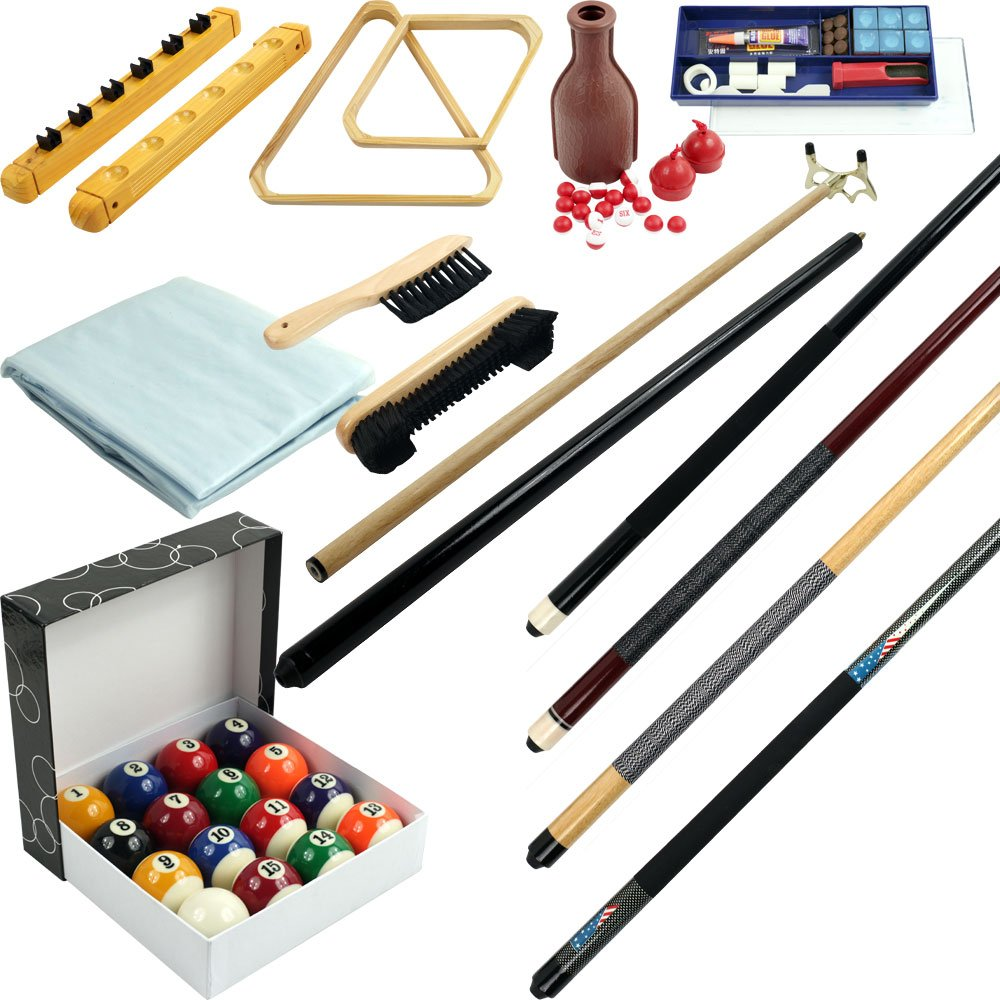 Pool Table Accessory 32 Piece Kit- Billiards Balls, Cues, Stick Repair, Roman Rack, Table Brush, Table Cover, Tally Bottle and More by Trademark Games