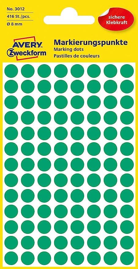 Avery Zweckform Markierungspunkte Punkte Etiketten grün 8mm 416 Stück Markierung