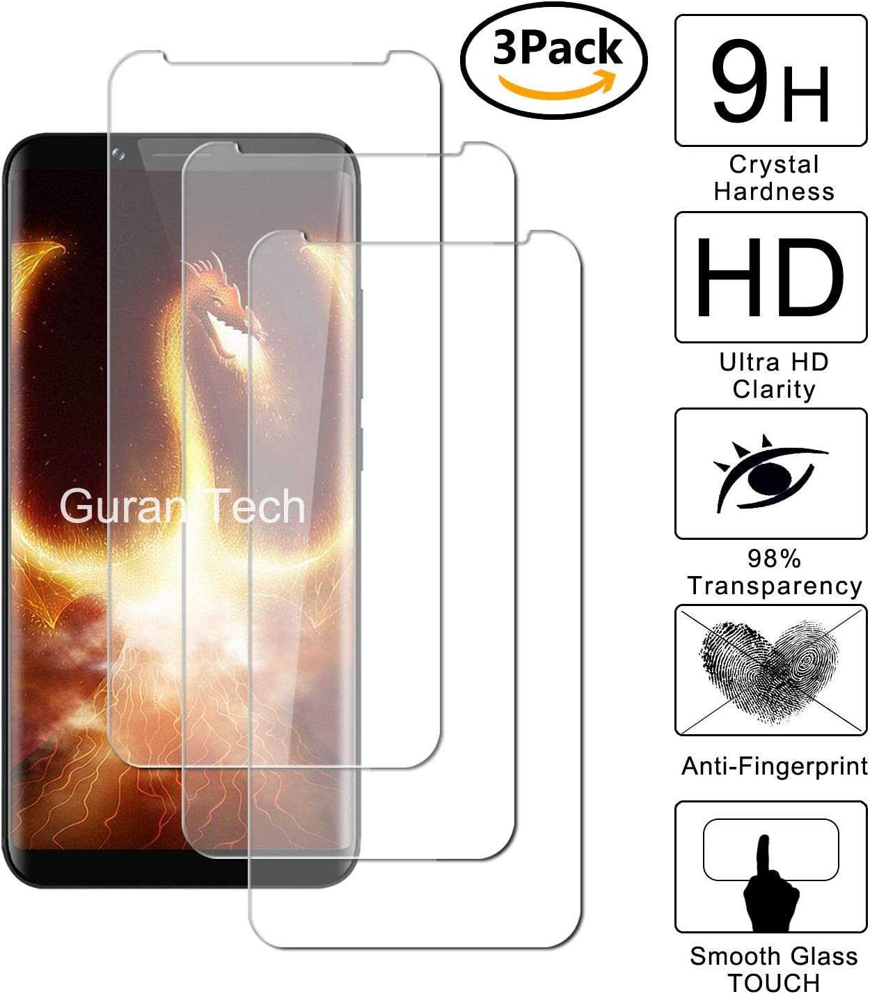 Guran [3-Unidades] Protector de Pantalla Vidrio Cristal Templado ...