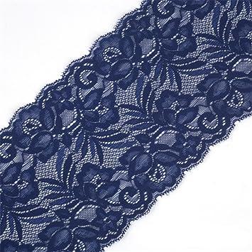 919ddbb9b437 Cinta de encaje floral elástica de tul de 15 cm de ancho para manualidades,  manualidades, ropa, accesorios, regalo, boda, fiesta, decoración azul  marino: ...